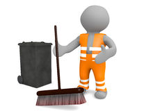3d man street sweeper Royalty Free Stock Photos