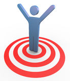 3d man succeed to the target. 3d man on target with hands up in the air. Concept of successful goal achievement royalty free illustration