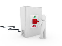 3d man switch box. 3d man switch red on off start stop Stock Image