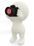 3D man taking a picture Royalty Free Stock Photo