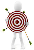 3d man with target and arrows. On white Royalty Free Stock Photography