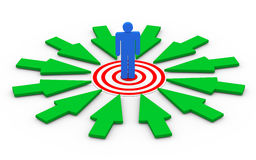 3d man on target surround by arrows. 3d illustration of selected person on target surrounded by green arrows. Concept of targeting buyer, unique selection Royalty Free Stock Photography