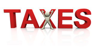 3d man with taxes. 3d render of man with word taxes. 3d illustration of human character Royalty Free Stock Image