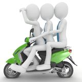 3d man team on the scooter Stock Image