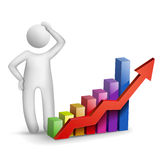 3d man thinking with a bar chart Royalty Free Stock Photos