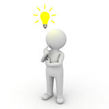 3d Man Thinking With Idea Bulb Above His Head Stock Photo