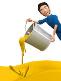 3D man throwing yellow paint Royalty Free Stock Photography