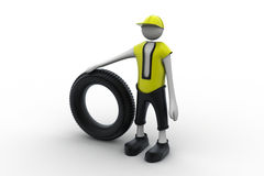 3d man with tire Royalty Free Stock Photos