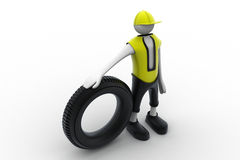 3d man with tire Stock Photo