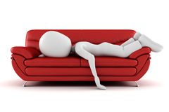 3d man tired sleeping on the couch Royalty Free Stock Images