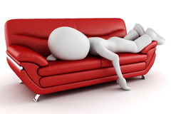 3d man tired sleeping on the couch Stock Photos