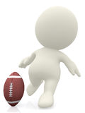 3D man about to kick a football ball Royalty Free Stock Image