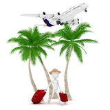 3d Man Tourist And Plane Royalty Free Stock Photos