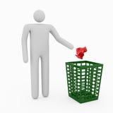 3D Man & Trash. 3D Man throw garbage into trash Stock Image