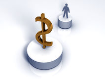3D man trying to make wealth. 3D rendered image showing a man trying to make wealth Stock Photos