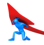 3d man turning the arrow on the upside Stock Photography