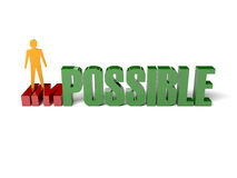 3D man turning the word impossible into possible. Royalty Free Stock Images