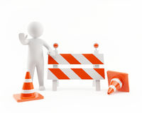 3D man under construction zone Royalty Free Stock Images