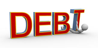 3d man under debt Stock Images