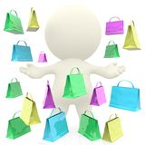 3D man under a gift bags rain Royalty Free Stock Image