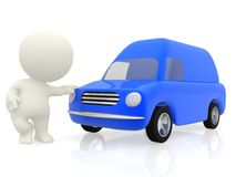 3D man with a van Royalty Free Stock Image