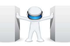 3d Man in Vector. Illustration of 3d man in vector fully scalable standing between wall Royalty Free Stock Photo