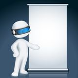 3d man in Vector with Display Board. Illustration of 3d man giving presentation in display board in vector fully scalable Royalty Free Stock Photos