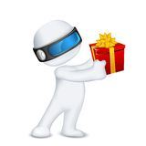 3d Man in Vector with Gift Box Royalty Free Stock Image
