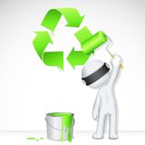 3d Man in Vector painting Recycle Stock Photography