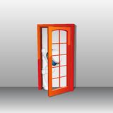 3d man in vector peeping through Door Royalty Free Stock Image