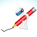 3d Man in Vector with Pencil. Illustration of 3d man in vector fully scalable writing with pencil Stock Photos