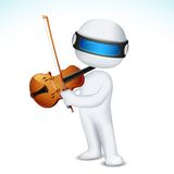 3d Man in Vector Playing Violin Royalty Free Stock Photo