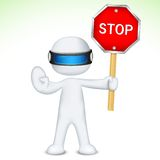 3d Man in Vector with Stop Sign Royalty Free Stock Photography