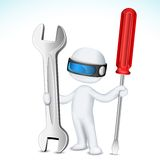 3d Man in Vector with Tools. Illustration of 3d man in vector fully scalable holding screw driver and wrench Royalty Free Stock Photos