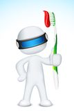 3d Man in Vector with Tooth Brush. Illustration of 3d doctor in vector fully scalable standing with tooth brush Stock Images