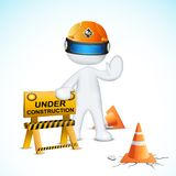 3d Man in Vector with Under Construction Element stock illustration