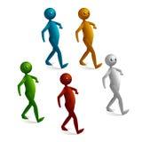 3d man walking. Cartoon isolated 3d stick figure walking Stock Photography