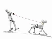 3d man walking a dog. Crash test dummy walking a dog over a white background Stock Image