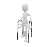 3d man with walking frame. 3d man using a walking frame as walk aid Royalty Free Stock Images
