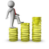3d man walking on growth of dollar coins. Isolated on white background Royalty Free Stock Photos