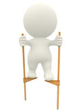 3D man walking on stilts Stock Photo
