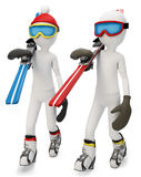3d man walking to skiing area Royalty Free Stock Photos