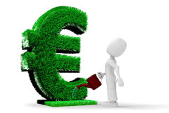 3d man watering the Euro grass Stock Image