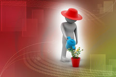 3d man watering the plant Royalty Free Stock Image