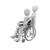 3d man with wheel chair. 3d man pushing a wheel chair with patient Stock Photography