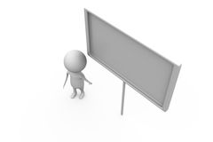 3d man white board concept Stock Photography