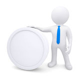 3d man with a white oval frame. Render on a white background Stock Image