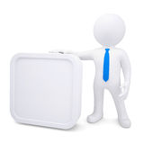 3d man with a white rectangle frame. Render on a white background Royalty Free Stock Image