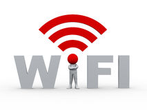 3d man in the wifi Royalty Free Stock Photo