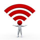 3d man and wifi icon Royalty Free Stock Photos